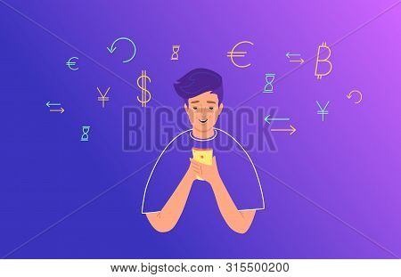 Online Banking And Electonic Wallets Concept Flat Vector Illustration. Teenage Boy Using Mobile Smar