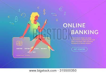 Woman Using Mobile App For Online Banking. Concept Vector Illustration Of Young Girl Sitting On Big