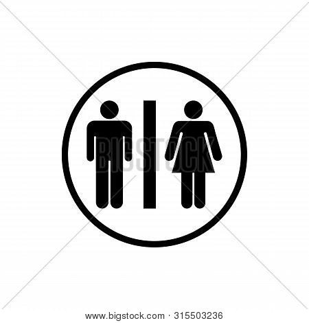 Restroom Sign. Male And Female Toilet Icon Denoting Restroom Facilities For Both Men And Women. Lady