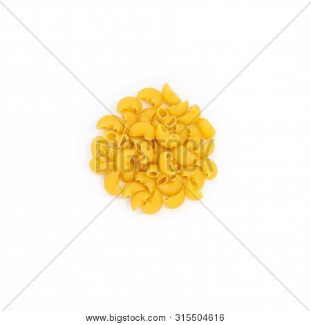 Raw Pasta Pipe Rigate Isolated Over White Background