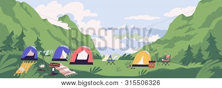 Touristic Camp Or Campground With Tents And Campfire. Landscape With Forest Campsite Against Mountai