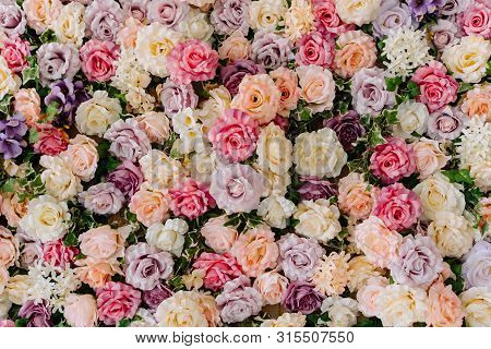 Beautiful Decorative Colorful Roses Background. Traditional Wedding Party Decor Detail. Pastel Flowe