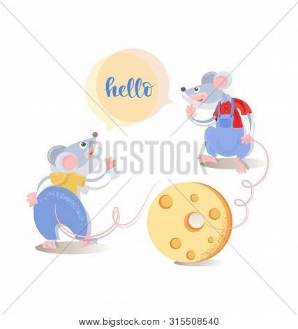 Hello. Two Cute Cartoon Rats Greet Each Other And Cheese. Funny Mice. Animal, Rodent. Year Of The Ra