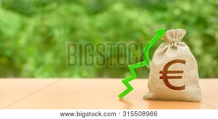 Money Bag With Euro Symbol And Green Up Arrow. Increase Profits And Wealth. Growth Of Wages. Investm