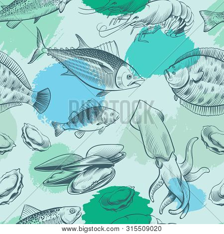 Sealife Seamless Pattern With Grunge Elements. Ocean Texture With Fish, Shell, Octopus. Vector Seali