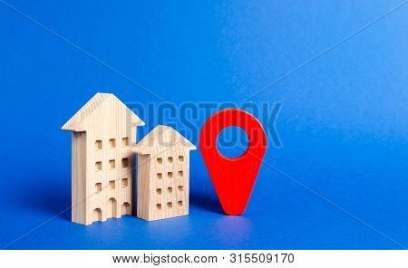 Residential Houses And Red Navigation Pointer Pin. Location Of Residential Buildings Or Work, City O