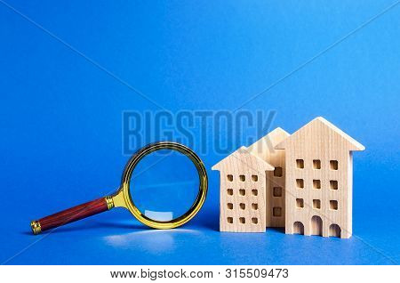 Figures Of House Apartments Buildings And Magnifying Glass. Home Appraisal. Property Valuation. Real