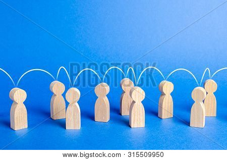 People United To Each Other With A Mental Link Line. Social Connections, Communication. Organization
