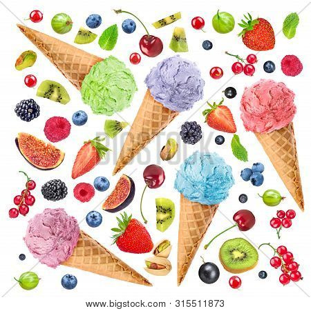 Multi-colored Ice Cream On A White Background