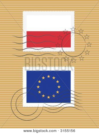 Poland And European Union - Stamps With Flag