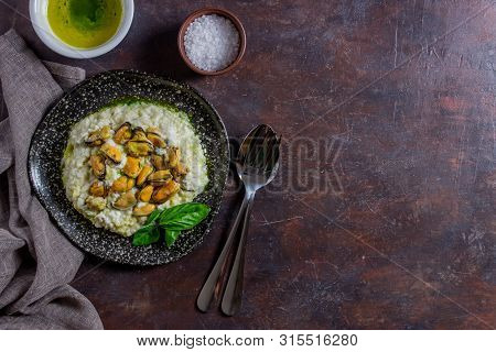 Risotto With Mussels . Italian Cuisine. Proper Nutrition. Vegetarian Food.