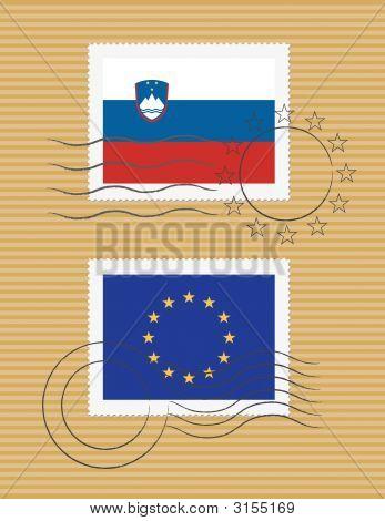 Slovenia And Eu - Stamps With Flag
