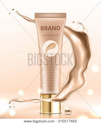 Cosmetic package design, blank foundation tube mockup for design uses in complexion color tone. Realistic vector illustration poster