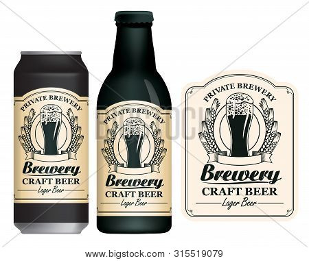Vector Label For Craft Beer In Retro Style On Light Background, Decorated By Wheat Or Barley Ears An