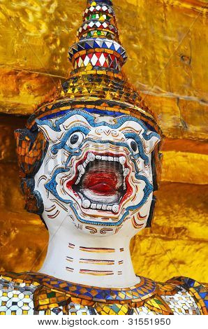 Giant Face In Wat Phra Kaew