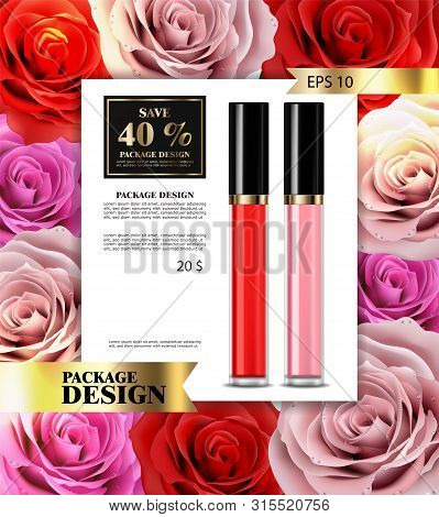 Lip Gloss Vector Realistic. Premium Cosmetics Sale. Colorful Collection Sets