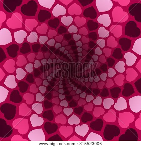 Hearts Spiral Pattern In A Hypnotizing Pink Tunnel With Dark Center. Symbolic For Rapture Of Love, C