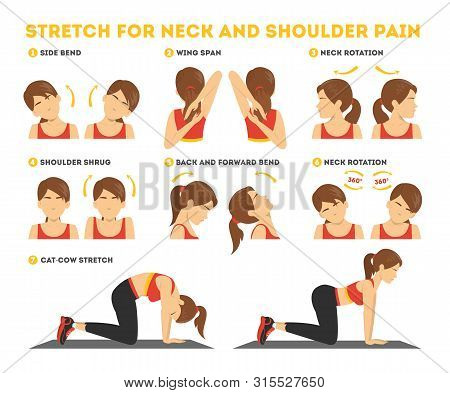 Neck And Shoulder Exercise. Stretch To Relieve Neck Pain