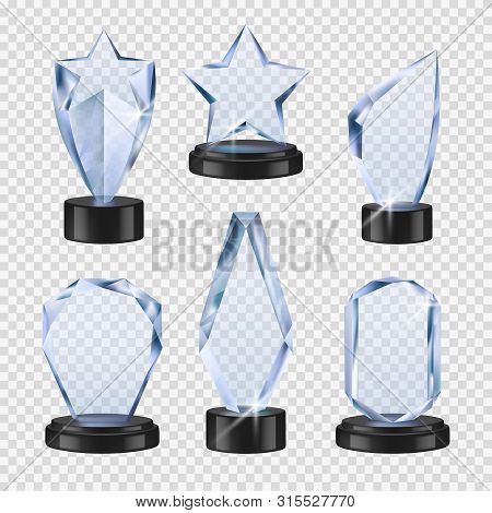 Trophies Transparent. Crystal Cups Awards Event Symbols Vector Realistic Glass Winner Trophies Colle