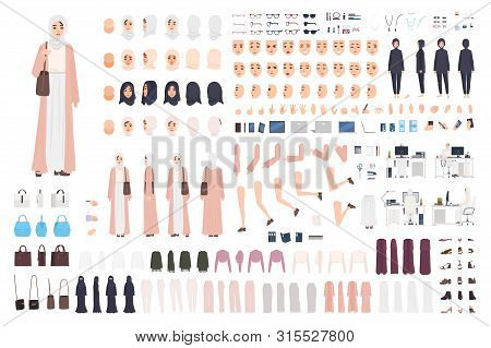 Young Arab Business Woman Constructor Set Or Creation Kit. Bundle Of Female Office Worker Body Parts
