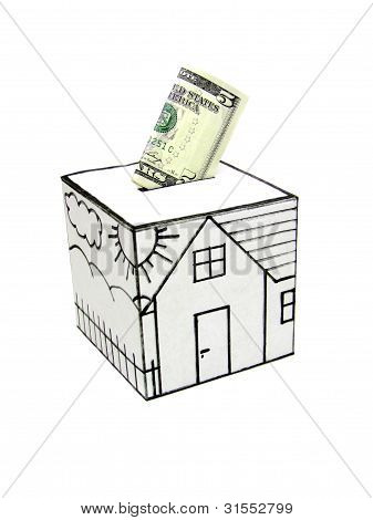 Safe house with drawn-five dollars deposited