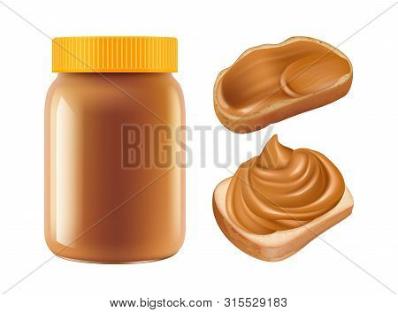 Realistic Caramel. Vector Caramel Jar And Sandwiches Isolated On White Background. Sweet Breakfast C