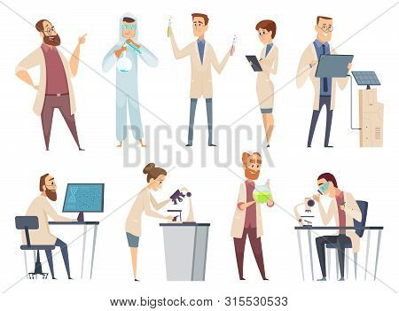 Science People. Characters Chemistry Biology Innovation Doctors Working In Scientific Laboratory Vec