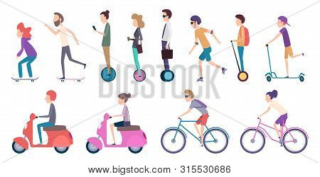 People City Transport. Crowded Urban Transportation Electric Scooter Vehicle Movement Bike Roller Ca