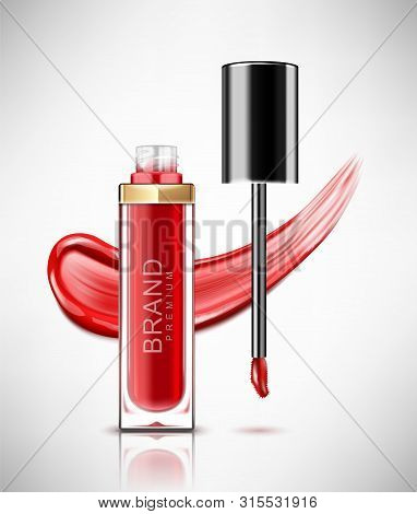 Liquid Lipstick, Lip Gloss In Elegant Glass Bottle With Black Lid And Smudged Red Lipstick. Realisti