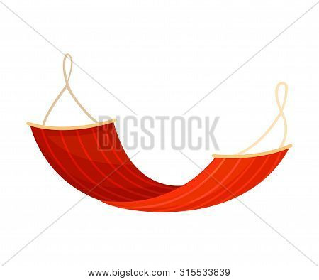 Red Hammock On A Clothesline. Vector Illustration On White Background.