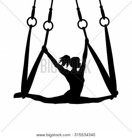 Silhouette Girl Yoga Exercise Pose Aero Split. Vector Illustration