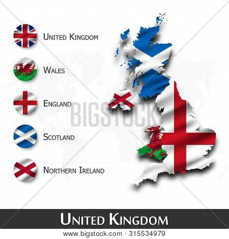 United Kingdom Of Great Britain Map And Flag ( Scotland . Northern Ireland . Wales . England ) . Wav