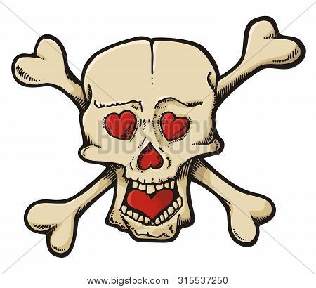 Beige Skull Cartoon Sketch With Hearts Isolated On White.