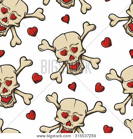 Beige Skull Cartoon Sketch With Hearts Seamless Pattern.