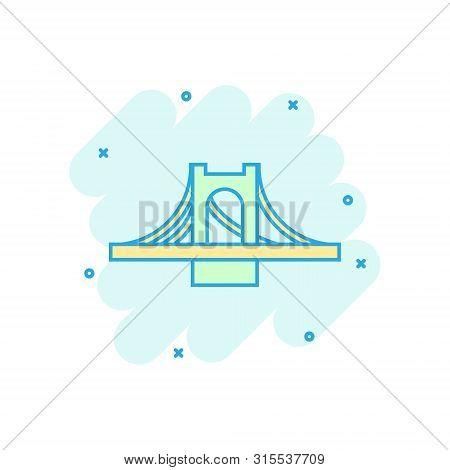 Bridge Sign Icon In Comic Style. Drawbridge Vector Cartoon Illustration On White Isolated Background