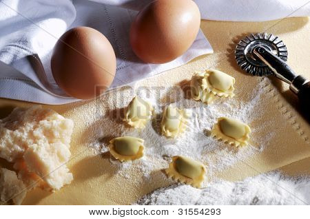 Pasta Ravioli On The Table