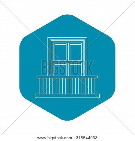 Classic Balcony Balustrade With Window Icon. Outline Illustration Of Classic Balcony Balustrade With