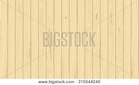 Light Wooden Vertical Planks. Vector Grain Textured Background. Pine Veneer