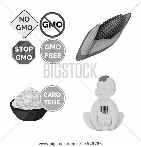 Vector Illustration Of Transgenic And Organic Logo. Set Of Transgenic And Synthetic Stock Symbol For