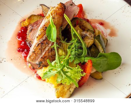 Duck Breast With Red Berry Sauce, Green Salad