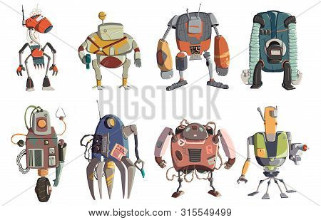 Cartoon Robots Characters Set. Technology, Future. Artificial Intelligence Design Concept. Isolated