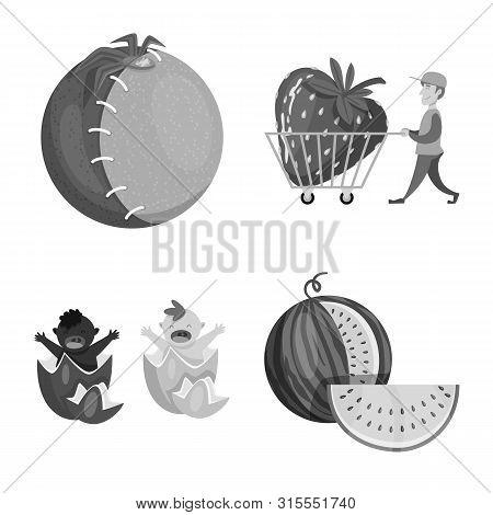 Vector Illustration Of Transgenic And Organic Symbol. Set Of Transgenic And Synthetic Vector Icon Fo