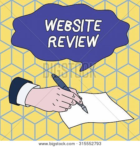 Text sign showing Website Review. Conceptual photo Reviews that can be posted about businesses and services Male Hand Formal Suit Holding Ballpoint Pen Blank Piece of Paper Writing. poster