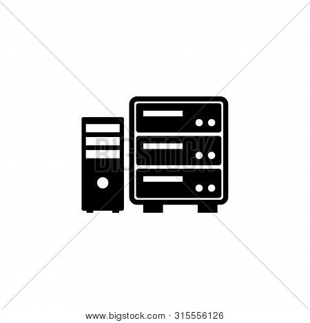 Datacenter, Computer Server. Flat Vector Icon Illustration. Simple Black Symbol On White Background.