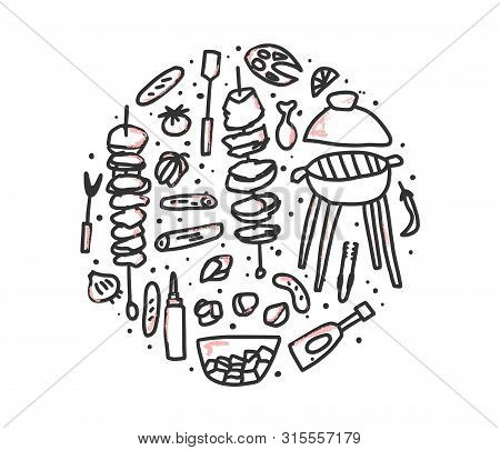 Barbecue Round Composition With  Cookout Symbols In Doodle Style. Bbq Circle Set.  Summer Outdoor Co