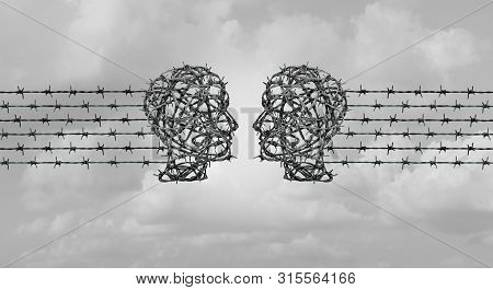 Hate Speech Communication Concept,and Online Hate Chat As Two Heads Made Of Barbed Wire Communicatin