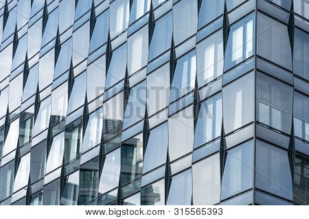 Berlin, Germany - September 26, 2018: Close-up View Of The Reflective Blue Windows Of The Mercedez B