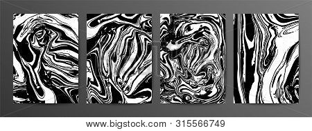Collection Of Abstract Monochrome Vector Marble Background. Black And White Ink Marble Texture. Marb