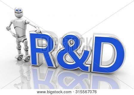 R and D Research Development Robot Android 3d Illustration