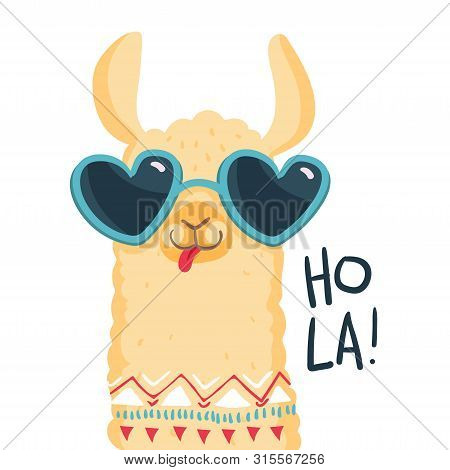 Cute Lama Character. Print For Fabric, T-shirt, Poster, Wallpaper, Wrapping Paper, Card, Baby Shower